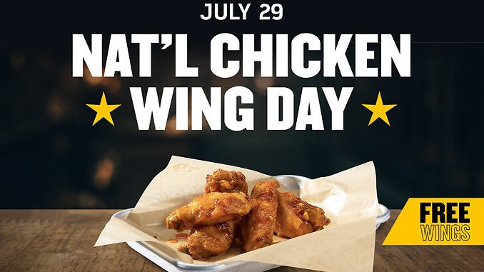 6 Free Wings With Purchase Of Any Size Order Of Wings On July 29, 2020