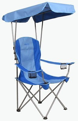 28% OFF | Kamp-Rite Outdoor Camping Beach Patio Sports Folding Chair w/ Shade Canopy, Blue