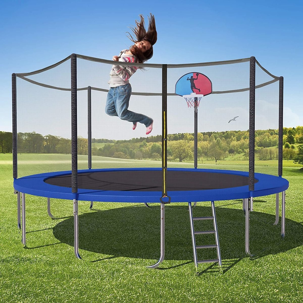 Save 50% On 15FT Trampoline Round Jumping-Bed with Safety Enclosure Net + Free Shipping