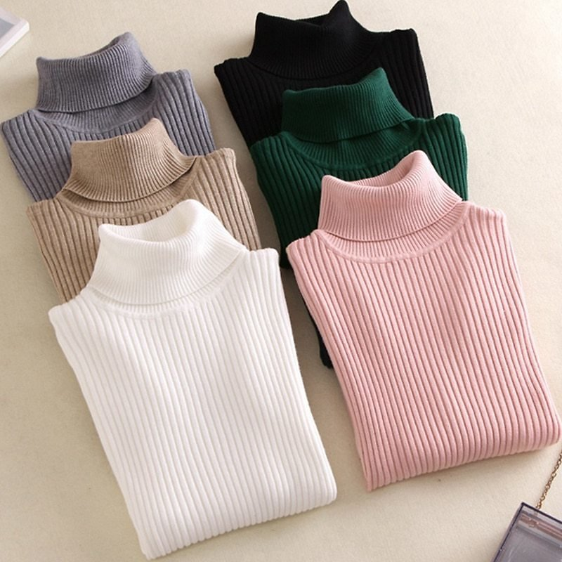On Sale 2020 AUTUMN Winter Women Knitted Turtleneck Sweater Casual Soft Polo-neck Jumper Fashion Slim Femme Elasticity Pullovers