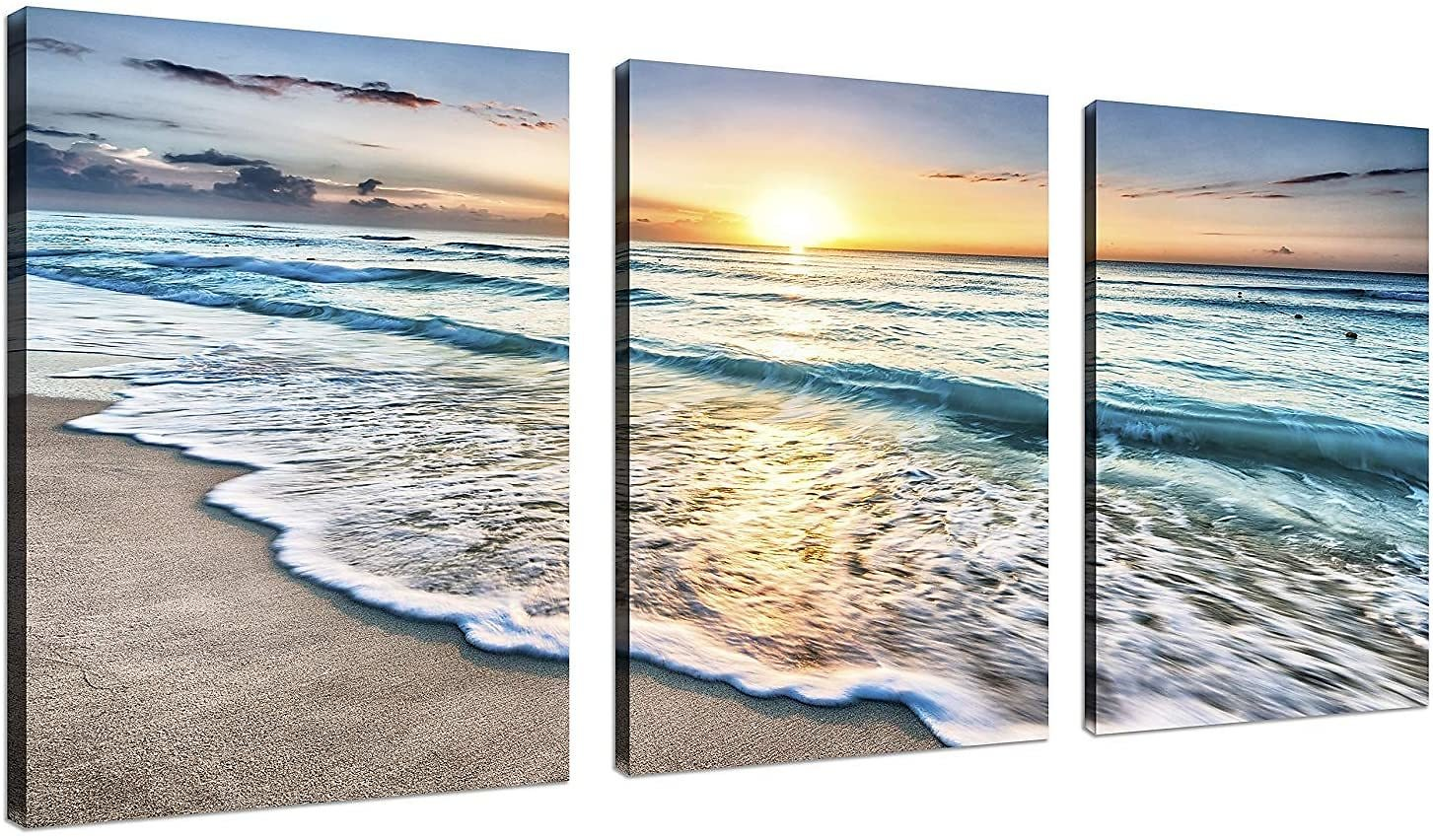TutuBeer No Framed 3 Panel Canvas Wall Art for Home Decor Blue Sea Sunset White Beach Painting The Picture Print On Canvas Seascape The Pictures for Home Decor Decoration,3pcs/Set
