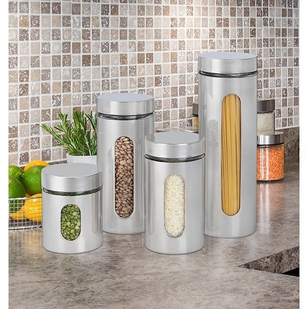 Estilo 4 Piece Brushed Stainless Steel And Glass Canisters With Window