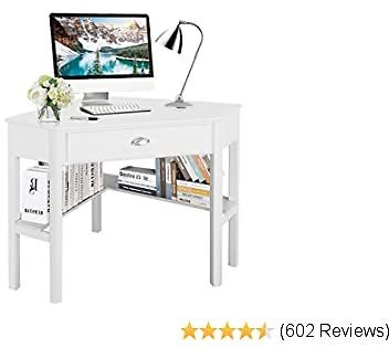 Tangkula Corner Desk, Corner Computer Desk, Wood Compact Home Office Desk, Laptop PC Table Writing Study Table - White With Draw