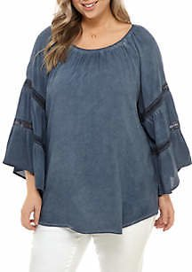 Spense Plus Size Style Essential Oil Wash Double Bell Sleeve Top