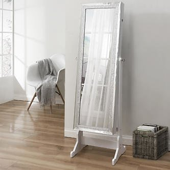 Inspired Home Inspired Home Shimmer Jewelry Armoire Lockable with LED Lights Full Length