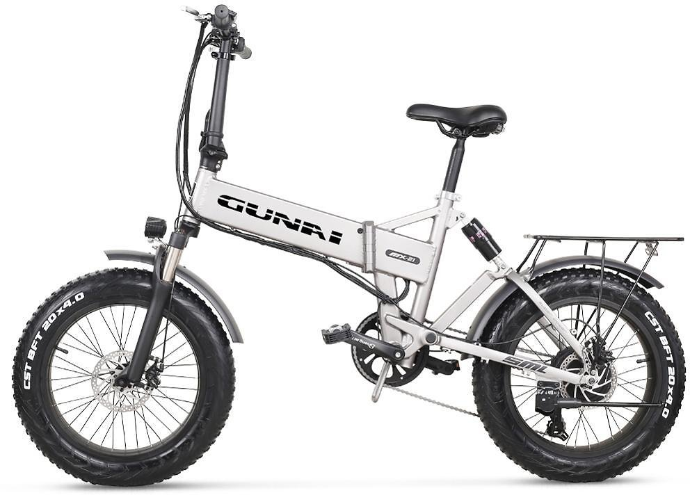 GUNAI 20 Inch Electric Snow Bike 500W 48V 12.8AH Lithium Battery Folding Mountain Bike with Rear Seat and Disc Brake
