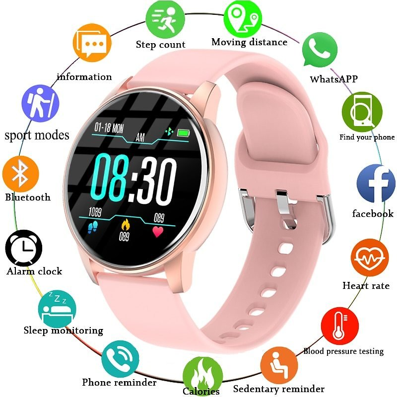 US $17.09 82% OFF|Women Smart Watch Real Time Weather Forecast Activity Tracker Heart Rate Monitor Sports Ladies Smart Watch Men For Android IOS|Smart Watches| - AliExpress