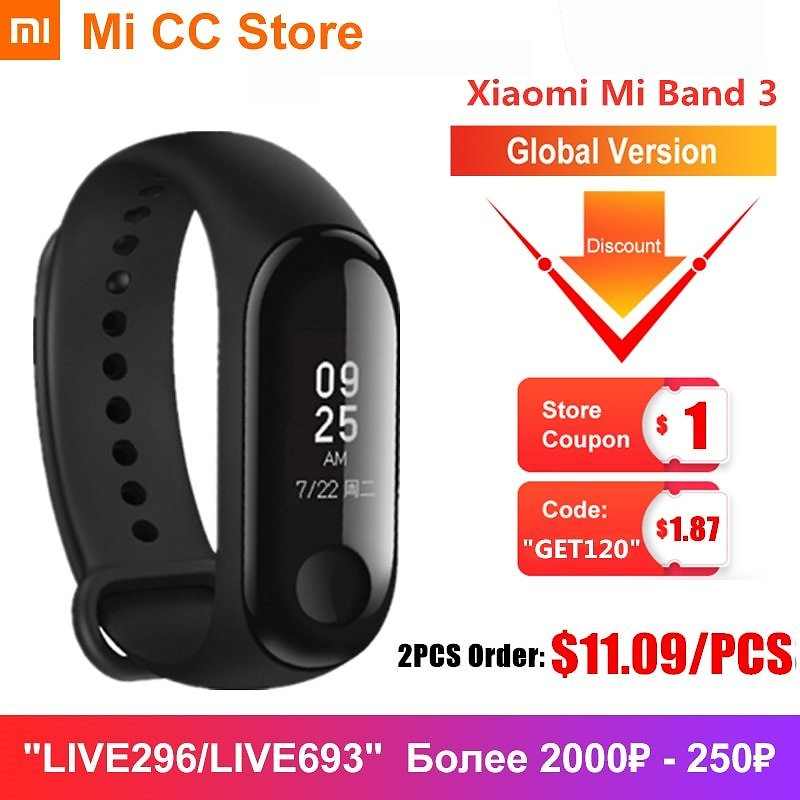 US $12.77 27% OFF|Global Version Xiaomi Mi Band 3 Wristband Fitness Tracker OLED Screen Heart Rate Monitor Smart Band 5 Color Bracelet Miband 3|Smart Wristbands| - AliExpress