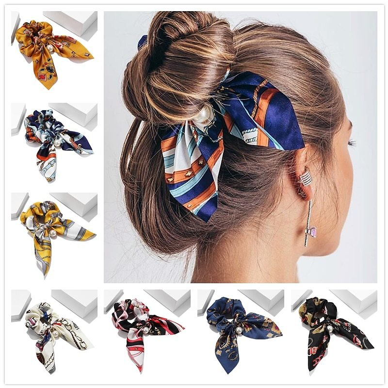 US $0.64 30% OFF|New Chiffon Bowknot Elastic Hair Bands For Women Girls Solid Color Scrunchies Headband Hair Ties Ponytail Holder Hair Accessorie|Women's Hair Accessories| - AliExpress
