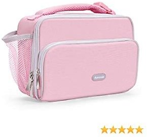 Amersun Insulated Lunch Box for Kids,Premium Water-resistant Girls Lunch Bag Cooler for School Travel Picnic Camp Sport with Drink Holder & Multi-pockets Compact Durable Lunchbox(Pink)