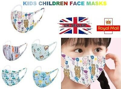 Children Kids Cartoon Face Mask Mouth Protection Cover Washable Reusable UK