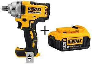 DEWALT 20-Volt MAX XR Lithium-Ion Cordless 1/2 In. Impact Wrench with Detent Pin Anvil with Free Premium Battery Pack 5.0 Ah-DCF894BW205