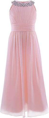 IEFiEL Girls Sequins Neck Chiffon Long Gown Pageant Prom Party Wedding Bridesmaid Flower Girl Dress