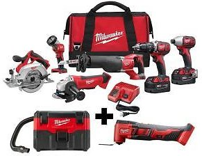 Milwaukee M18 18-Volt Lithium-Ion Cordless Combo Tool Kit (6-Tool) with Free M18 Wet/Dry Vacuum and Multi-Tool-2696-26-0880-20-2626-20