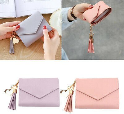 2 Pieces Women's Fashion Compact Leather Wallet Card Holder Handbag Clutch