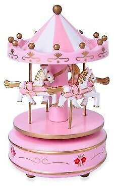 Pink White 4 Horse Wooden Circus Carousel Music Box Home Decor Decorative Gifts 191943538986