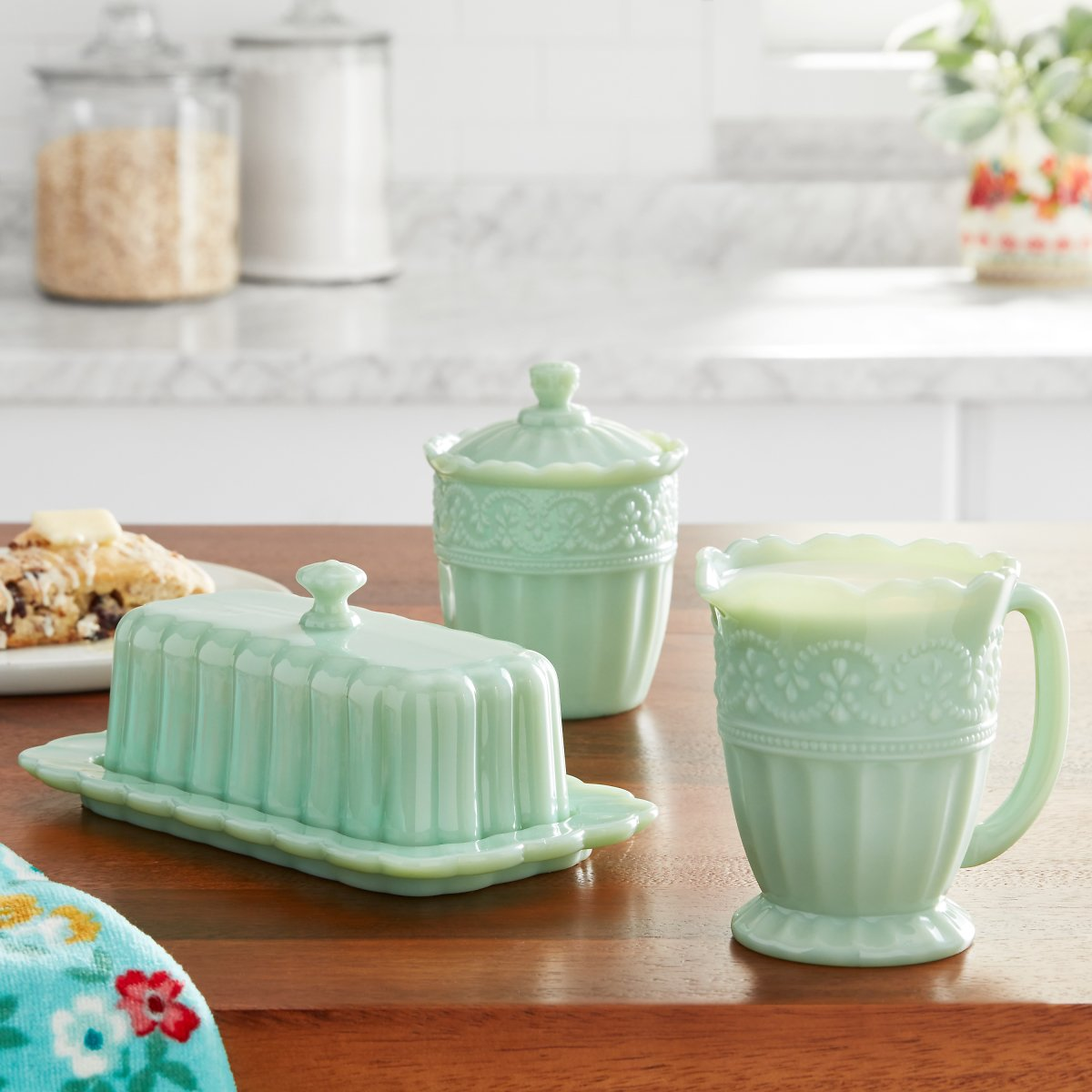 The Pioneer Woman Timeless Beauty 3-Piece Sugar Bowl, Creamer & Butter Dish Set