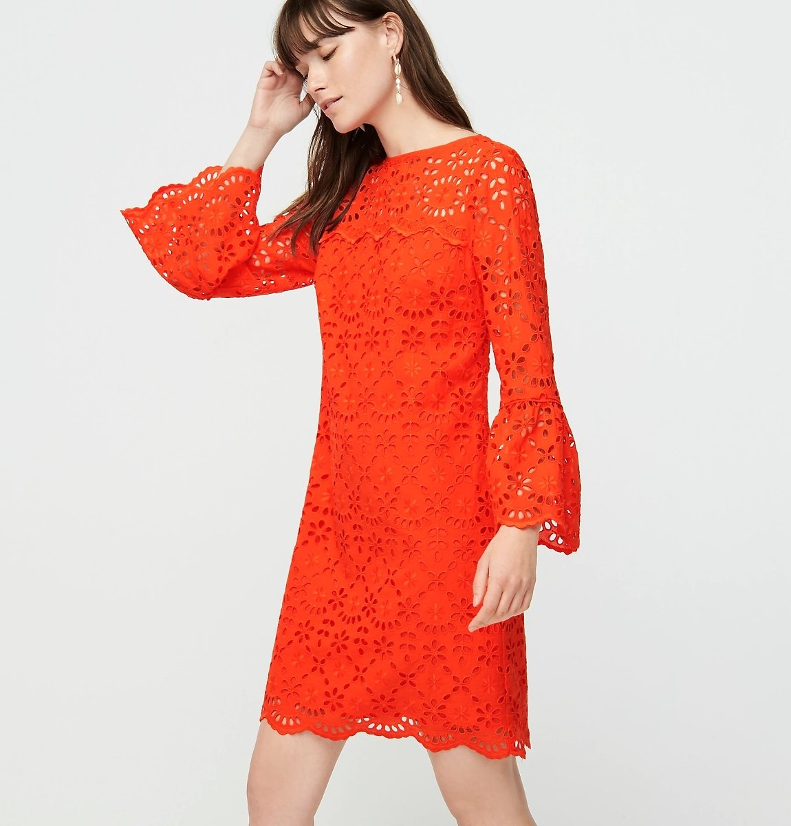 J.Crew Bell-sleeve Dress in Embroidered Eyelet (2 Colors)