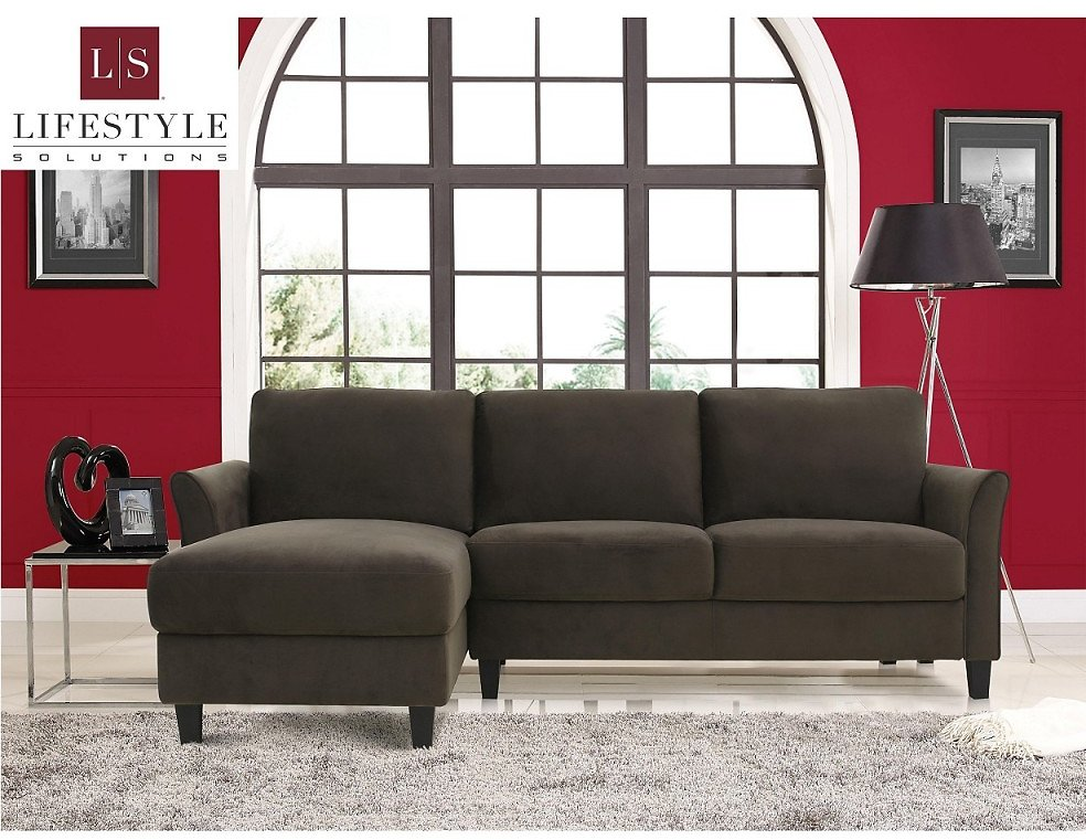 Wilshire 3 Seat Sectional Sofa Upholstered Microfiber Fabric Curved Arms