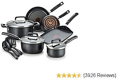 T-fal Signature Nonstick Dishwasher Safe Cookware Set, 12-Piece, Black - Only 11 left in stock