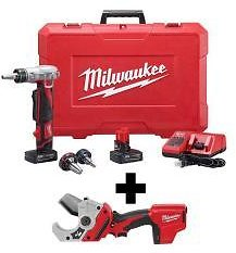 Milwaukee M12 12-Volt Lithium-Ion Cordless ProPEX Expansion Tool Kit with Free M12 PVC Shear-2432-22XC-2470-20