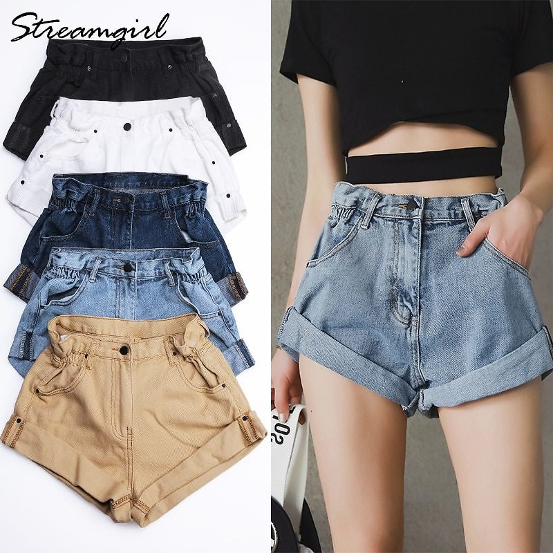 US $17.86 49% OFF|Streamgirl Denim Shorts Women's White Women Short Jeans Khaki Wide Leg Elastic Waist Vintage High Waist Shorts Women Summer|Shorts| - AliExpress
