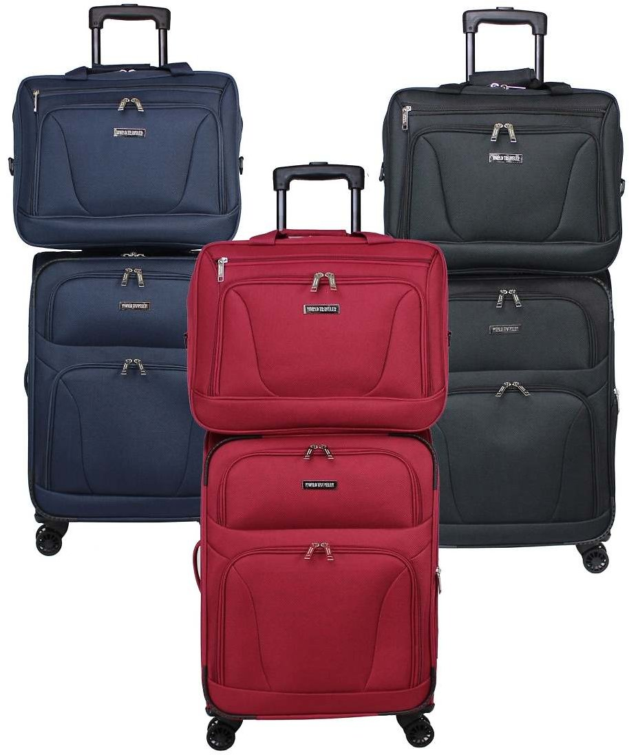 Embarque Super Lightweight 2-piece Carry On Spinner Luggage Set - Black