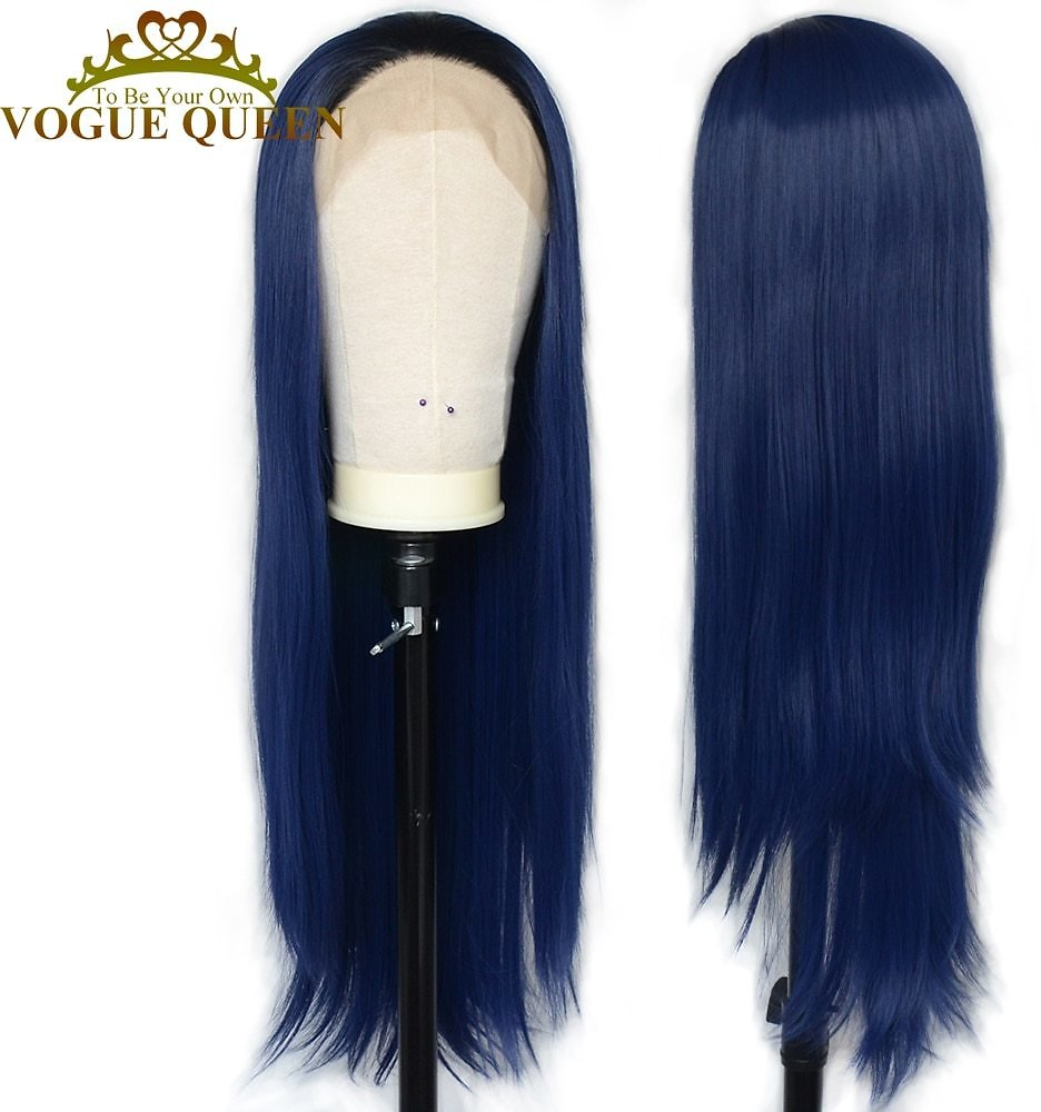 US $31.08 40% OFF|Vogue Queen Dark Blue With Black Hair Root Long Straight Synthetic Lace Front Wig Daily Wearing For Women|Synthetic Lace Wigs| - AliExpress