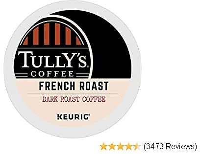 Tully's Coffee, French Roast, Single-Serve Keurig K-Cup Pods, Dark Roast Coffee, 96-Count (4 Boxes of 24 Pods)