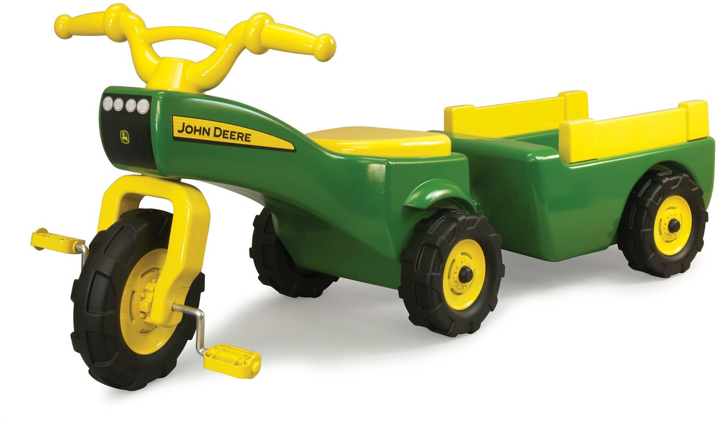 John Deere Pedal Tractor And Wagon, Kids Ride On Tractor Tricycle, Green + Yellow