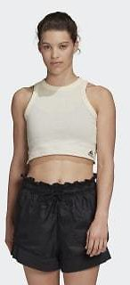 Adidas Must Haves Recycled Cotton Crop Tank Top - White | Adidas US