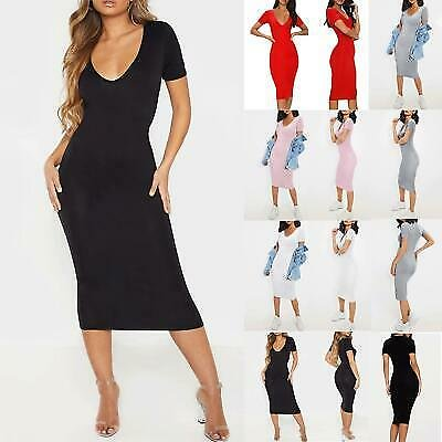 Ladies Women Slim Fit Pencil Plain Plunge V Neck Short Sleeve Midi Bodycon Dress