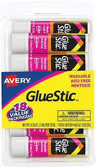 Avery Clear Application Permanent Glue Sticks, 0.26 oz, 18-count