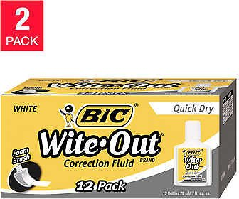 2Pack 24-count Bic Wite-Out Quick Dry Correction Fluid