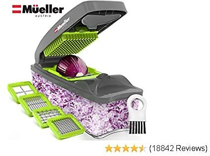 Mueller Austria Onion Chopper Pro Vegetable Chopper - Strongest - 30% Heavier Duty Vegetable Slicer Dicer Cutter with Container and 4 Blades