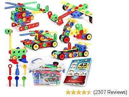 163 Piece STEM Toys Kit, Educational Construction Engineering Building Blocks Learning Set for Ages