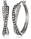Sterling Silver Twisted Hoop Earrings Made with Swarovski Crystal: Jewelry