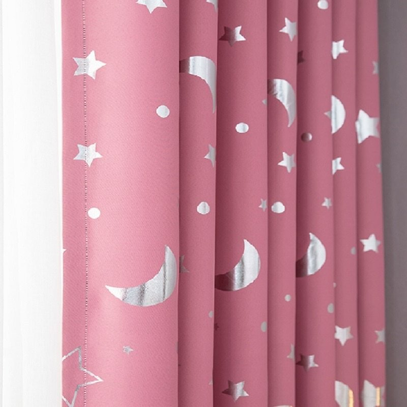US $6.62 29% OFF Moon And Stars Curtains For Bedroom Windows Blackout Curtains For Kids Girls Living Room White Pink Green Blue Grey Beige Korean Curtains  - AliExpress