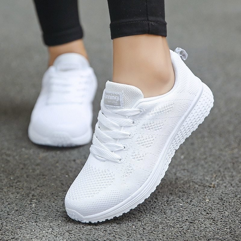 US $9.8 65% OFF|Women Casual Shoes Fashion Breathable Walking Mesh Flat Shoes Sneakers Women 2020 Gym Vulcanized Shoes White Female Footwear|Women's Vulcanize Shoes| - AliExpress