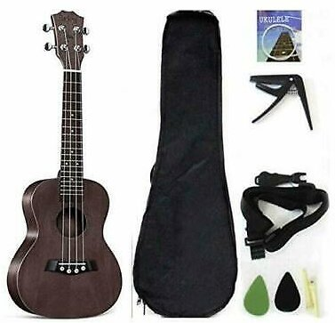 Concert Ukulele Solid Top Mahogany 23 Inch With Ukulele Accessories With Gig Bag