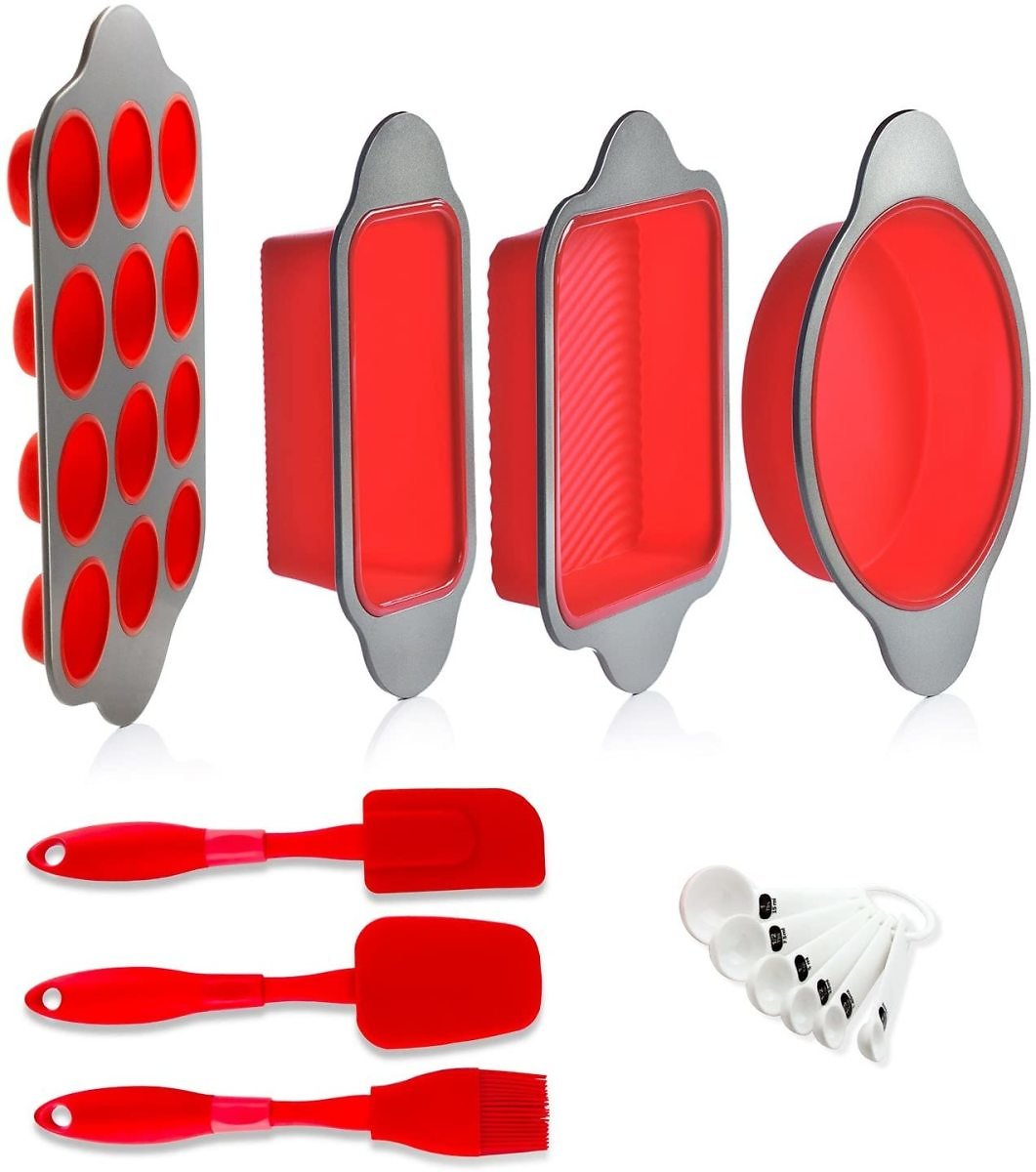 Silicone Baking Molds, Pans and Utensils (Set of 13) By Boxiki Kitchen