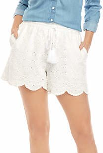Crown & Ivy™ Women's Yarn Dye Eyelet Shorts