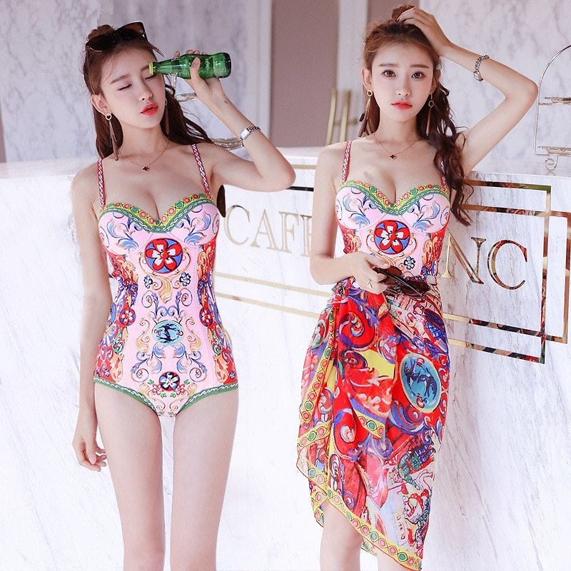 US $18.4 28% OFF|Sexy One Piece Swimsuit Women Print Halter Cover Up Polyester Swimwear Female Summer Bathing Suit Push Up Bikini Beach Wear|Body Suits| - AliExpress