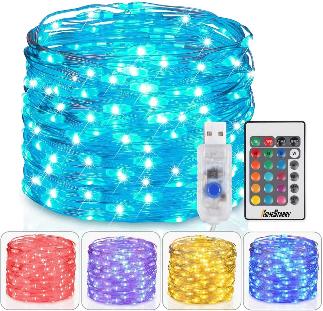 Homestarry Fairy Lights USB Plug In String Lights with Remote 33ft 100LEDs, 16 Color Changing Lights Twinkle Firefly Lights for