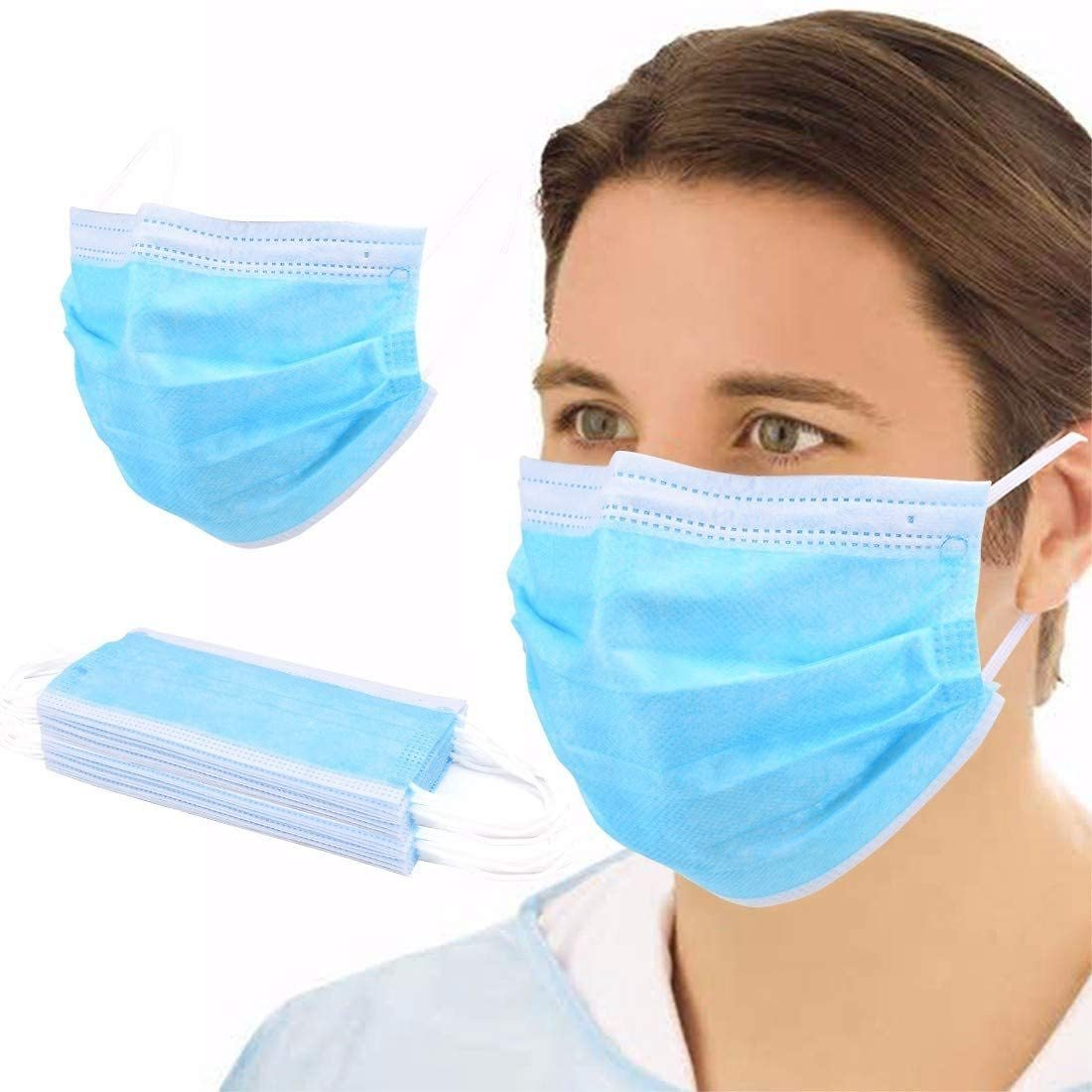 NJ058 50 Pieces Disposable 3-Ply Face Protective Cover Personal Protection Dust-Proof Masks