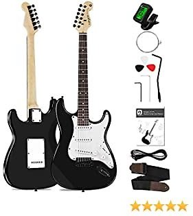 Vangoa Guitar Electric Starter Kit 39 Inch Full Size Solid Body Black with Strap, Cable and User Manual for Adults Beginners