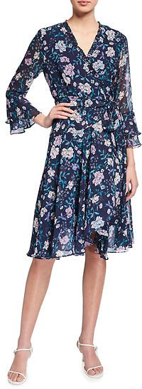 Tahari ASL Floral Smocked Faux-Wrap Dress with Ruffle Trim