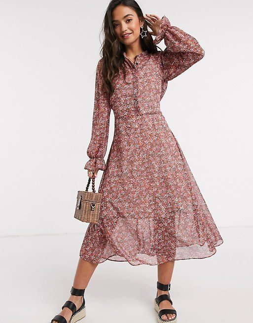 New Look Puff Sleeve Chiffon Shirt Dress in Pink Floral | ASOS