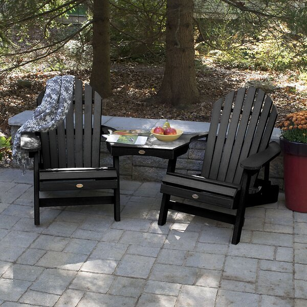 Camacho Plastic Folding Adirondack Chair with Table (Multiple Options)