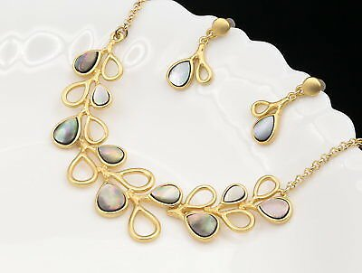 Natural Shell Branch Leaf Choker Gold Plate Necklace Drop Earrings Jewelry N37